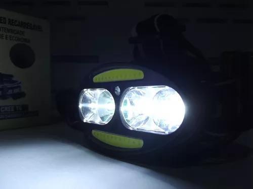 Lanterna cabeça recarregável + sensor indutivo 4 led + 2
