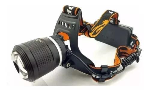 Lanterna de cabeça led t6 recarregavel zoom c/ 2 baterias