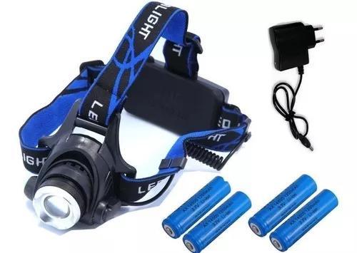 Lanterna De Cabeça T6 Led Cree C/ Zoom Tatica + 4 Baterias