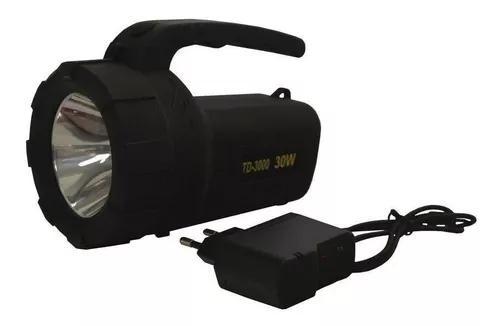 Lanterna led de mão holofote recarregável 30w td-3000
