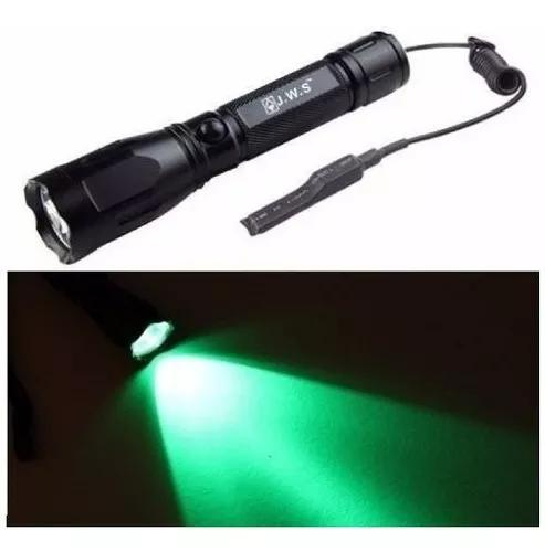Lanterna led luz verde caça pesca tática foco jws ws-533q