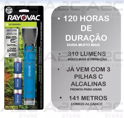 Lanterna metal led rayovac aprova agua pilha gratis se4w3ca