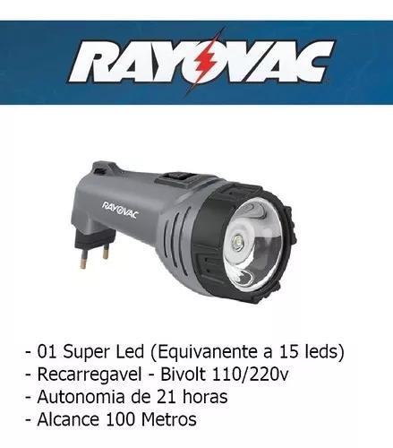 Lanterna recarregavel 1 super led = 7 bivolt 110/220 rayovac