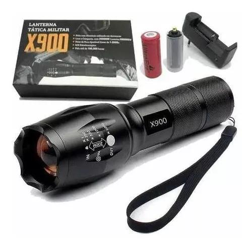 Lanterna tatica militar led x900 c/ zoom de 1-2000x
