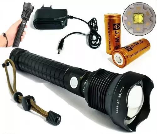 Lanterna tática led t9 super potente 2 baterias 26650