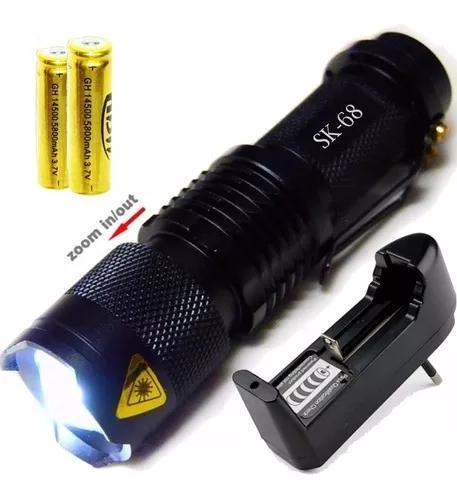 Mini lanterna led cree q5 tática recarregável com 2