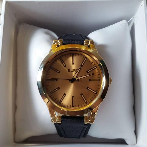 Relógio euro pulseira couro preta