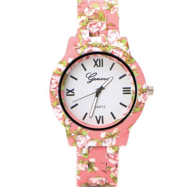 Relógio geneva de flor rosa