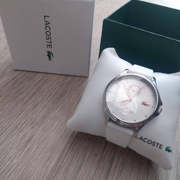 Relógio lacoste feminino borracha branca