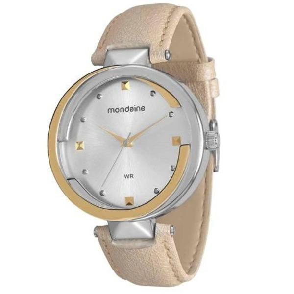 Relógio pulso mondaine dourado prateado pulseira bege
