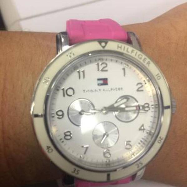 Relógio tommy hilfiger feminino borracha original, com