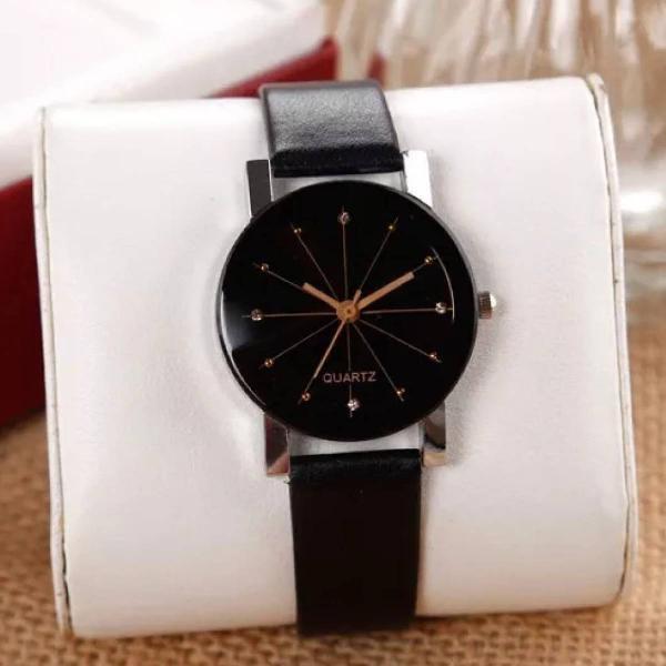 Relógio pulso feminino luxo preto pulseira couro.