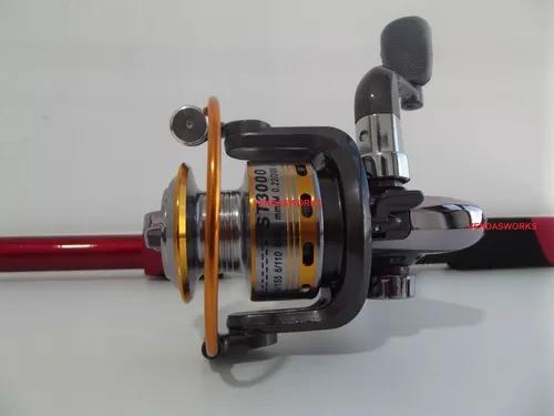 Vara pesca 2,4mts + molinete 10 rolamentos carretel