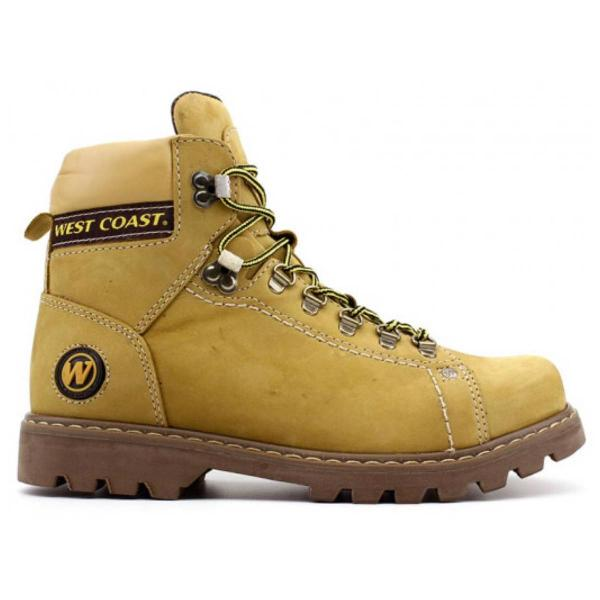 Bota coturno west coast 5790 worker camel couro legítimo