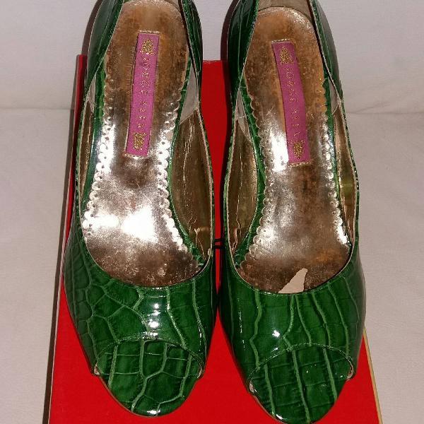 Peep toe feminino verde tam.35