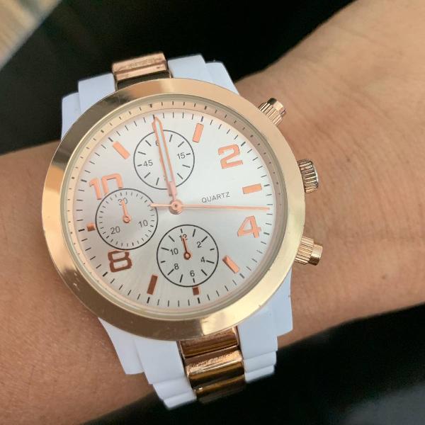 Relógio aeropostale branco com dourado