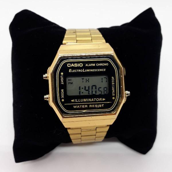 Relógio casio a168 dourado unissex aço inoxidável -