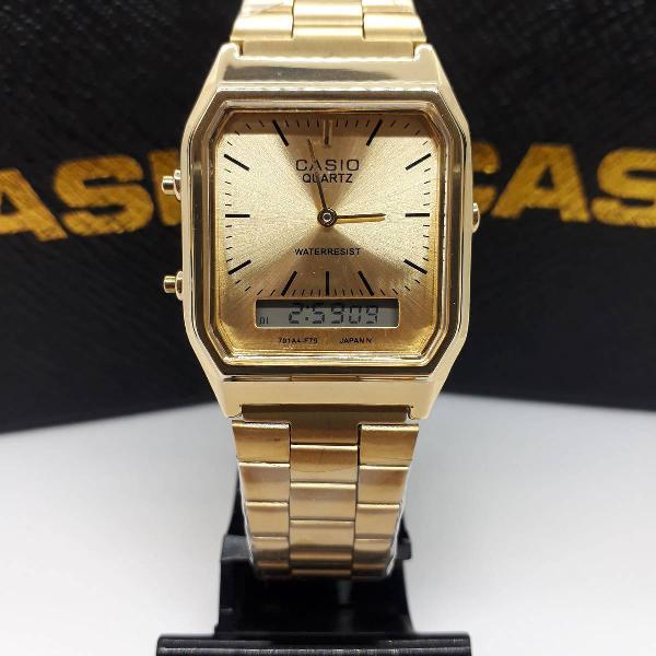 Relógio casio aq230 dourado aço feminino lançamento