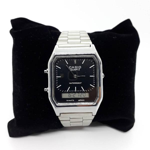 Relógio casio aq230 prata c/ preto lançamento feminino