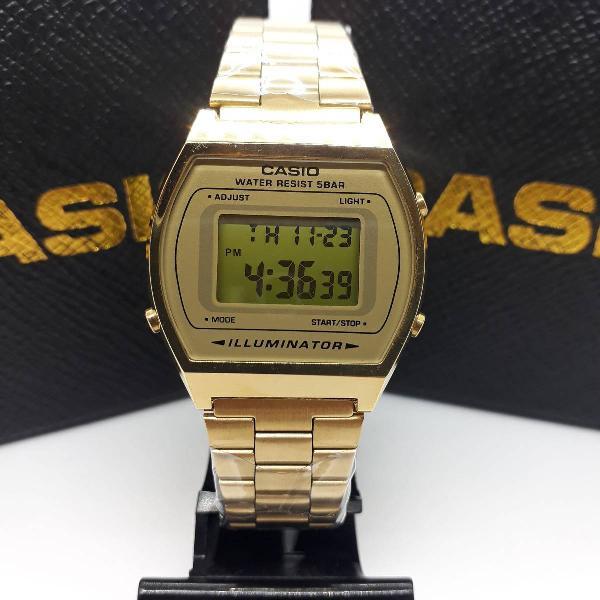 Relógio casio b640 dourado lançamento feminino masculino