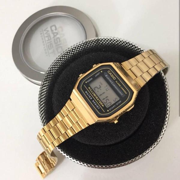 Relógio casio dourado c/ preto a168 aço retro lançamento
