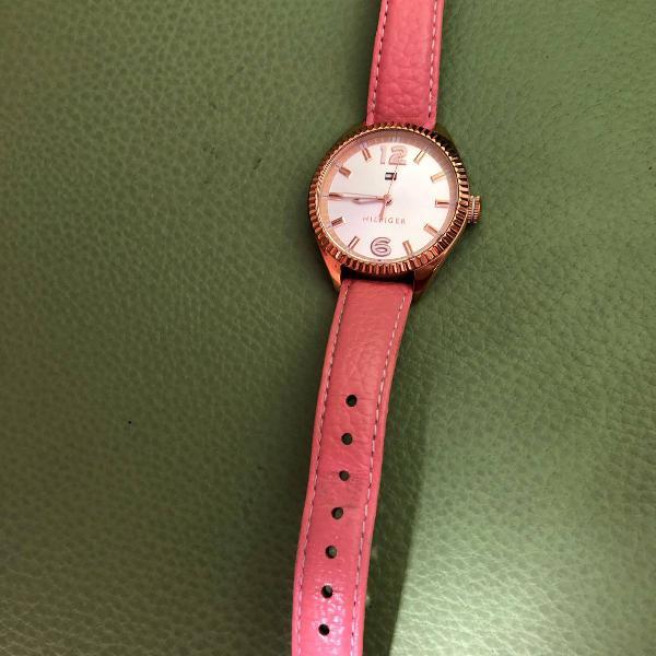relógio couro rosa tommy hilfiger