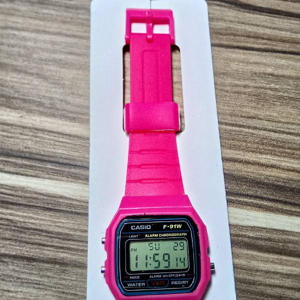 Relógio cássio digital unissex vintage retro rosa pink