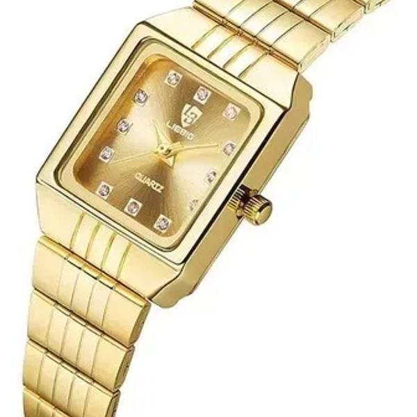 Relógio de pulso feminino casual analógico dourado 8808