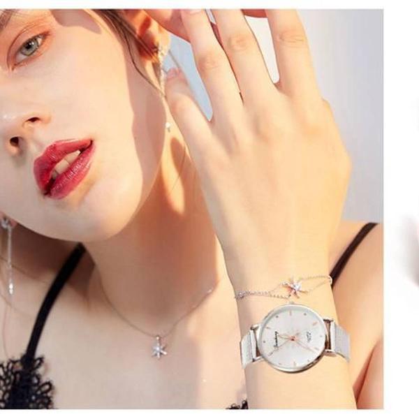 Relógio de pulso quartzo feminino branco 77 queens