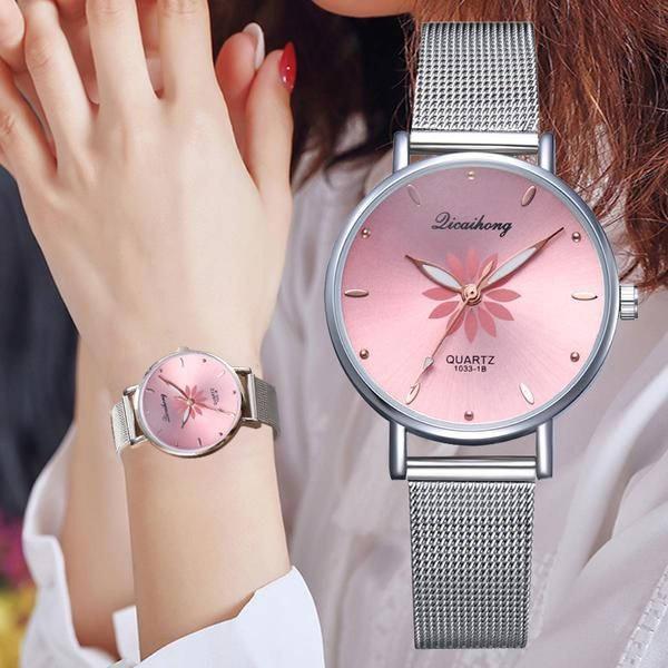 Relógio de pulso quartzo feminino rosa 77 queens