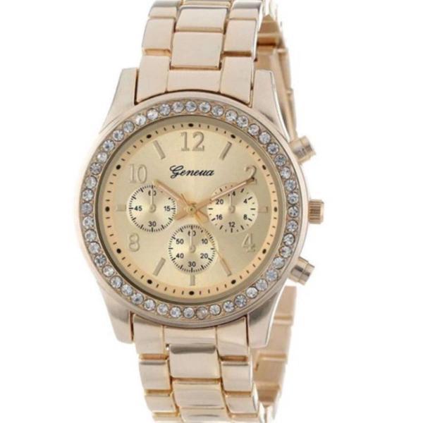 Relógio dourado com cristais