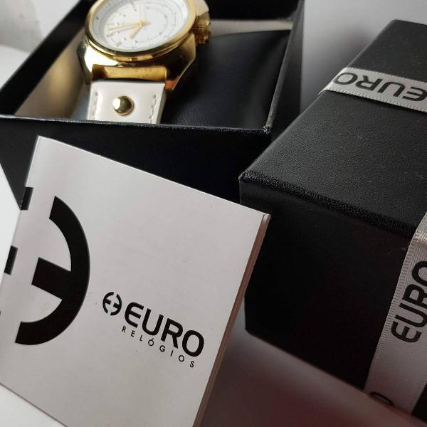 Relógio euro original pulseira de couro