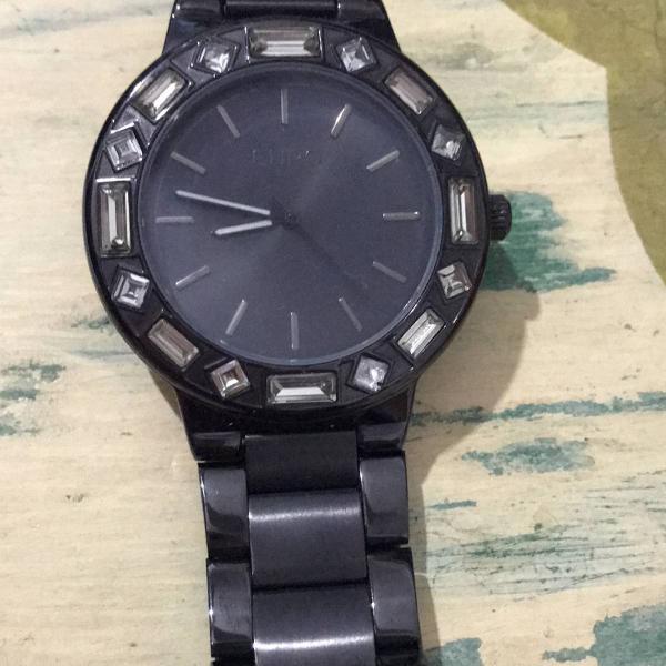 Relógio euro pulseira preta de metal todo cravejado de