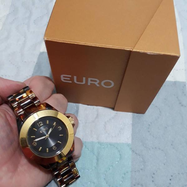 Relógio euro pulseira tartaruga