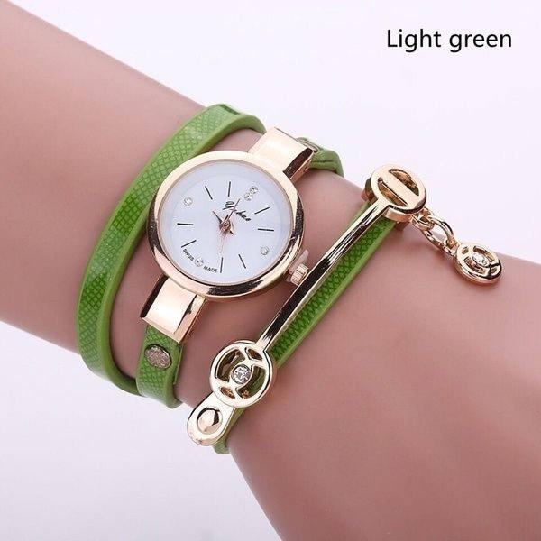 Relógio feminino dourado pulseira 3 voltas novo e verde