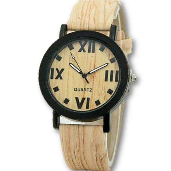 Relógio feminino estilo madeira números romanos