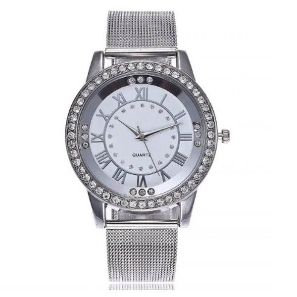 Relógio feminino prateado com pedras