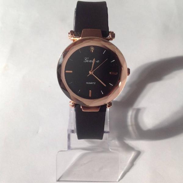 Relógio feminino preto pulseira confortável