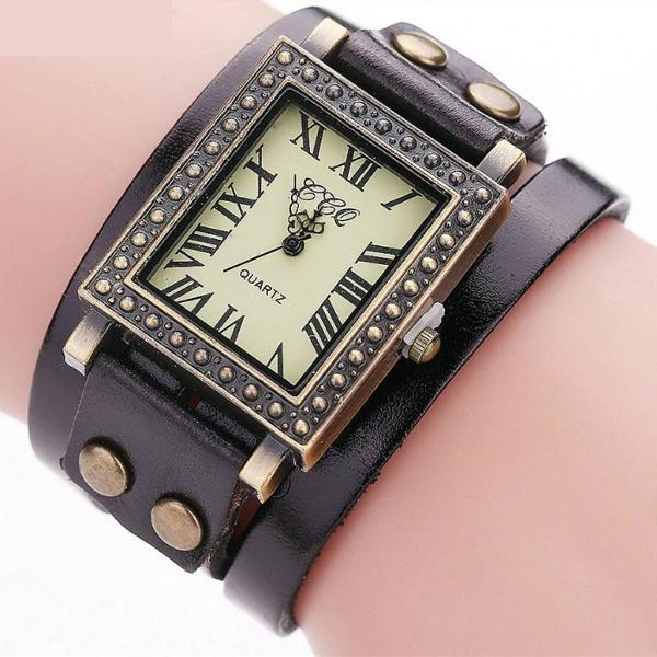 Relógio feminino quadrado vintage de couro preto