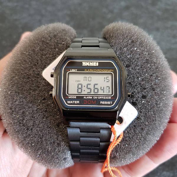 Relógio feminino retrô vintage preto skmei original