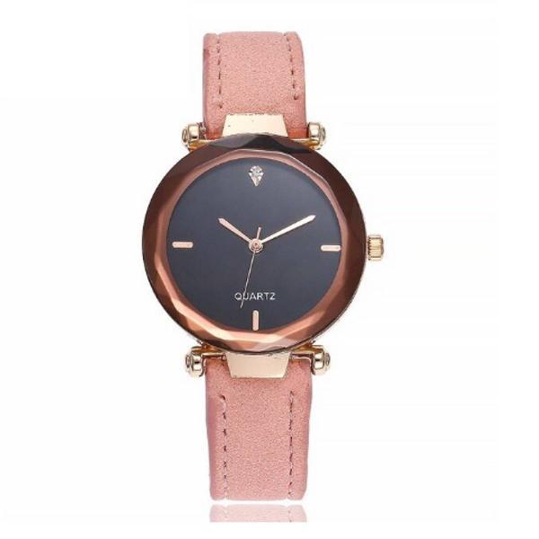 Relógio feminino rosa de camurça e pedrinhas
