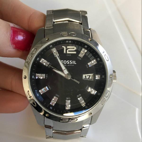 Relógio fossil original prata com fundo preto