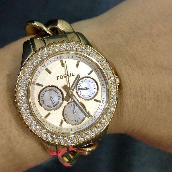 Relógio fóssil pulseira rose trançada