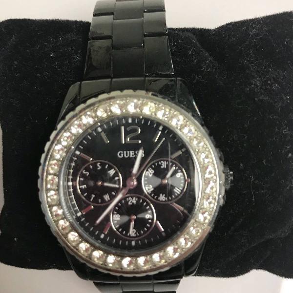 Relógio guess original preto com pedras