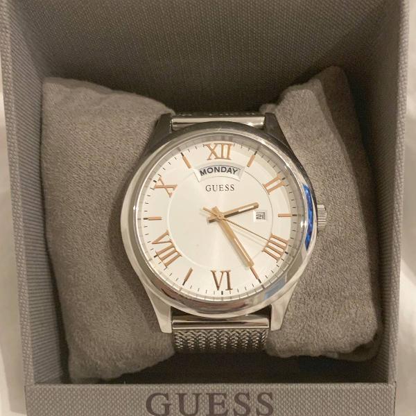 Relógio guess prata com pulseira trabalhada