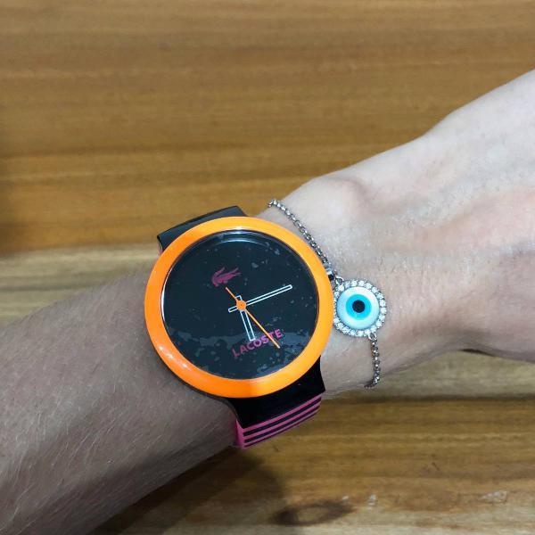 Relógio lacoste novo preto, laranja e rosa