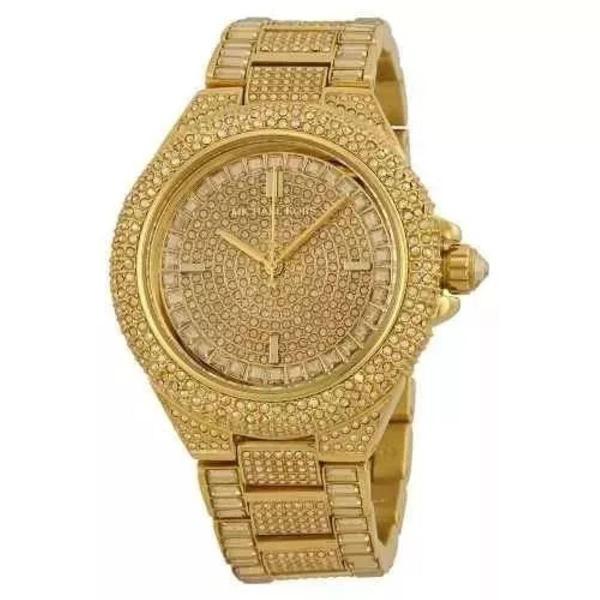 Relógio mk michael kors mk5720 swarovski dourado com caixa