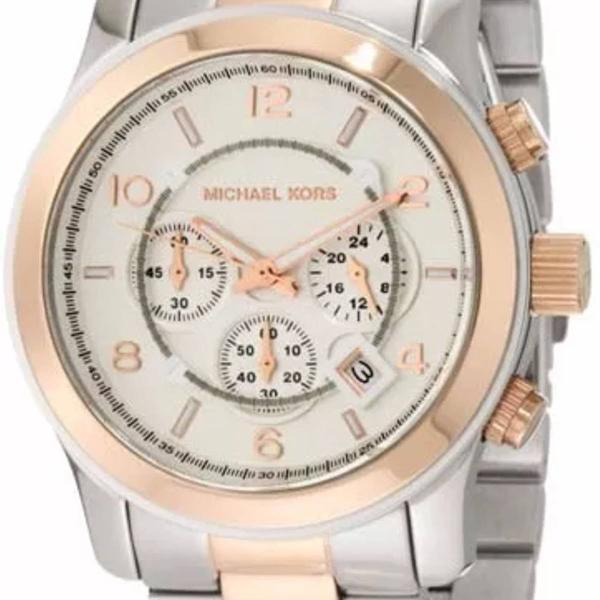 Relógio mk michael kors mk8176 prata dourado com caixa e