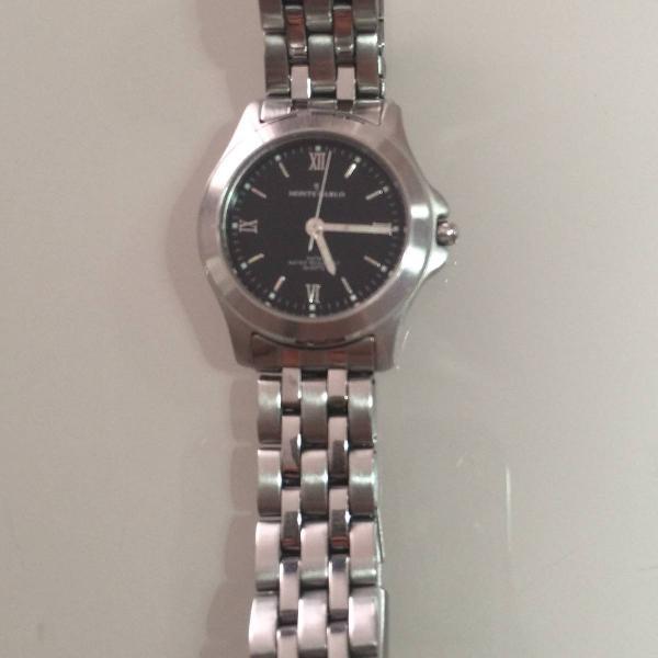 Relógio montecarlo pulseira prata