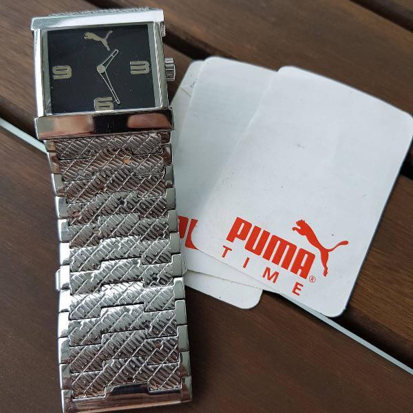 Relógio prata puma